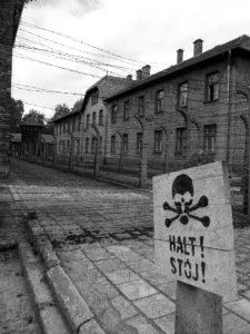 Auschwitz death camp warning sign