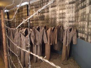 Death camp uniforms in Auschwitz museum